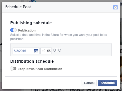 Scheduling a post